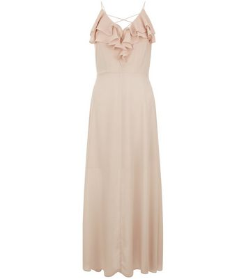 Petite Shell Pink Frill Trim Cross Strap Maxi Dress New Look