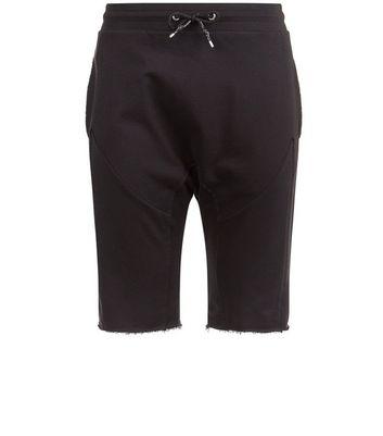 black-panelled-drop-crotch-jersey-shorts