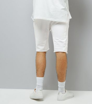 White Panelled Drop Crotch Jersey Shorts New Look