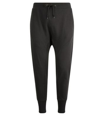 Grey Panelled Drop Crotch Jersey Joggers New Look