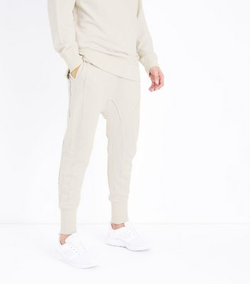 Stone Panelled Drop Crotch Jersey Joggers New Look