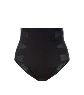 Black Mesh Panel High Waist Shaping Briefs New Look