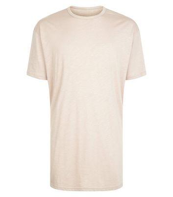 Stone Split Hem Longline T-Shirt New Look