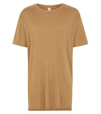 Tan Split Hem Longline T-Shirt New Look
