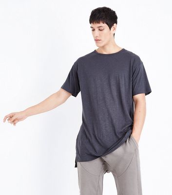 Dark Grey Split Hem Longline T-Shirt New Look