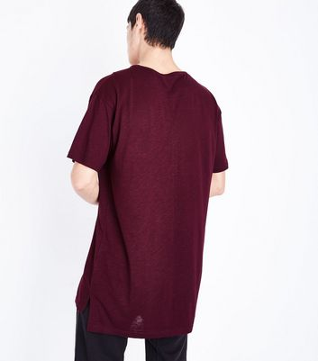 Burgundy Split Hem Longline T-Shirt New Look