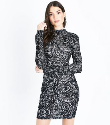 AX Paris Black Lace Long Sleeve Bodycon Dress New Look