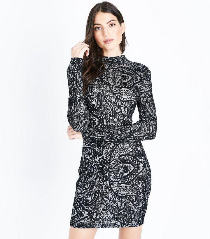 093951344b2ce AX Paris Black Lace Long Sleeve Bodycon Dress