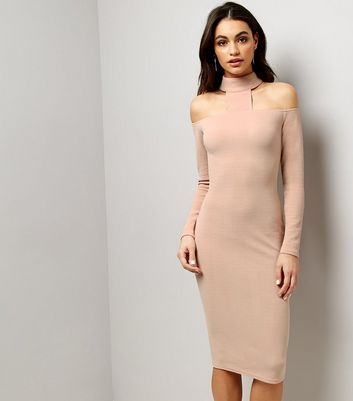 AX Paris Pink High Neck Midi Dress New Look
