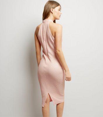 AX Paris Pink Textured Choker Neck Dress New Look