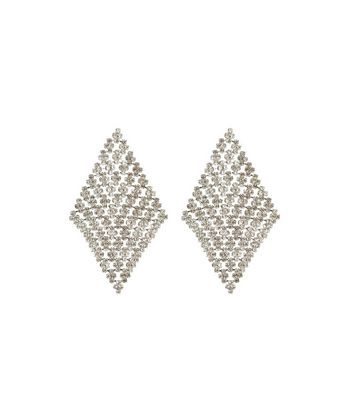 Silver Crystal Diamond Chain Mail Earrings New Look