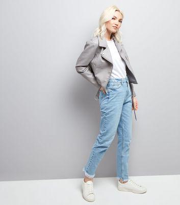 Petite Grey Leather-Look Biker Jacket New Look