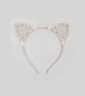 Shell Pink Lace Cat Ear Headband New Look