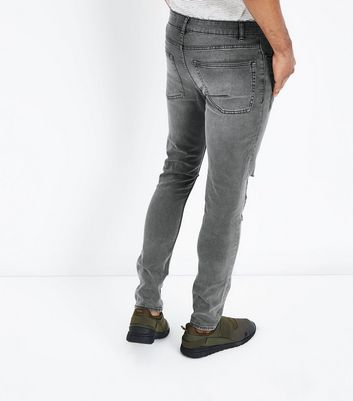Grey Ripped Knee Skinny Jeans New Look