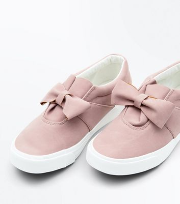 Pink Suedette Bow Slip On Trainers New Look