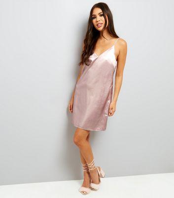 Shell Pink Metallic Slip Dress New Look