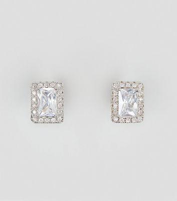 Silver Cubic Zirconia Rectangle Stud Earrings New Look