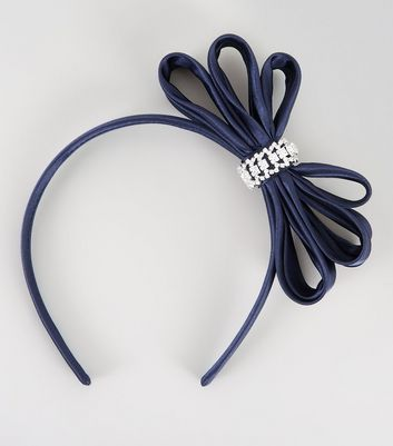 Navy Embellished Bow Fascinator New Look