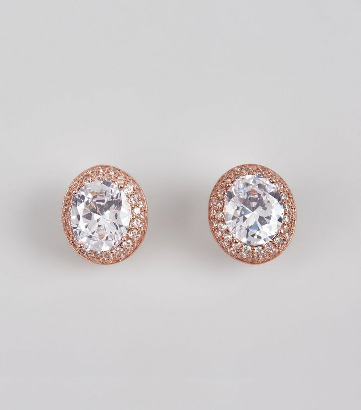 6a2c95894 Rose Gold Cubic Zirconia Oval Stud Earrings | New Look