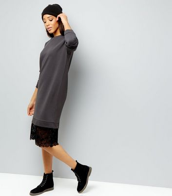 Dark Grey Lace Hem Longline Sweater New Look