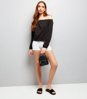 Black Cut Out Broderie Trim Bardot Neck Top New Look