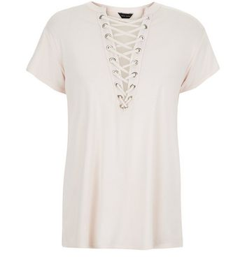Shell Pink Washed Lattice Front Top New Look
