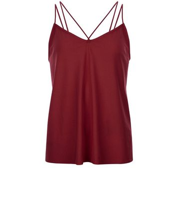 Teens Burgundy Double Strap Front Cami New Look
