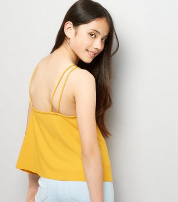 Teens Yellow Double Strap Front Cami New Look