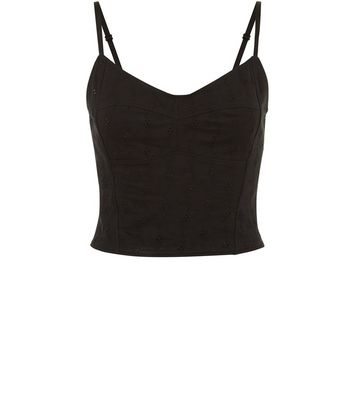 Black Broderie Bralet Cami New Look