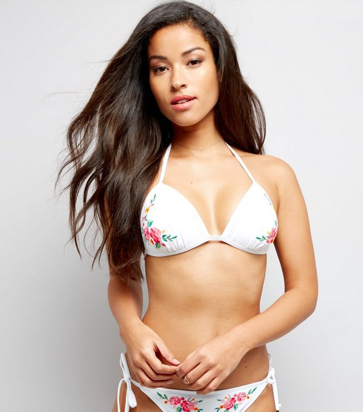 bdc1c1b0dce White Floral Embroidered Bead Tie Bikini Top | New Look
