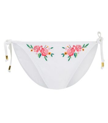 White Floral Embroidered Tie Side Bikini Bottoms New Look