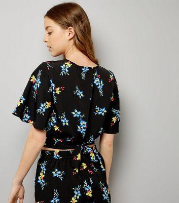 Black Floral Print Wrap Front Crop Top New Look