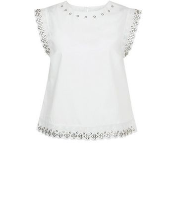 White Eyelet Trim Scallop Edge Top New Look