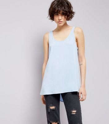 Blue Tie Back Sleeveless Top New Look