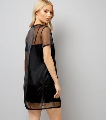 Black Mesh Overlay Dress New Look