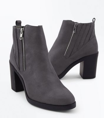 Wide Fit Grey Suedette Stitch Side Chelsea Boots New Look