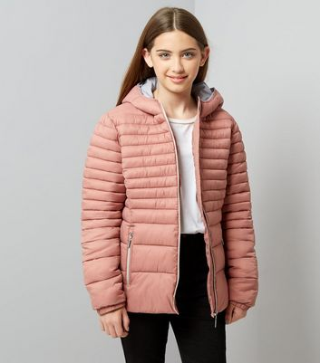 Girls Shell Pink Lightweight Puffer Jacket