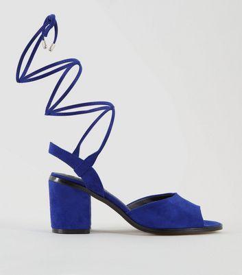 Teens Blue Suedette Ankle Tie Heels New Look