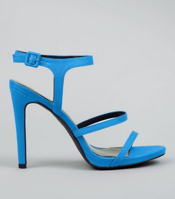 Neon Blue Ankle Strap Heeled Sandals
