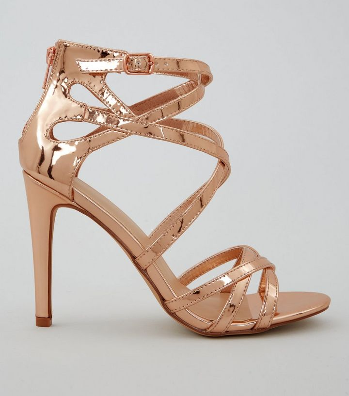 dddeb62a35b Wide Fit Rose Gold Metallic Strappy Heels
