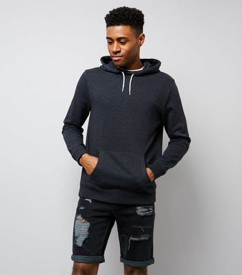 Dark Grey Pocket Front Hoodie New Look