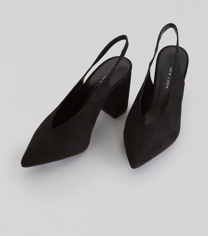 fb515e05a27 ... Wide Fit Black Suedette Pointed Slingback Heels. ×. ×. ×. VIDEO Shop  the look