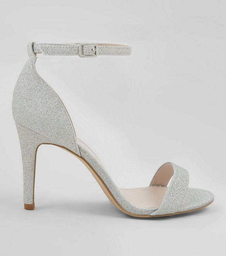 cbaec5ffb5d6 Wide Fit Silver Glitter Heels