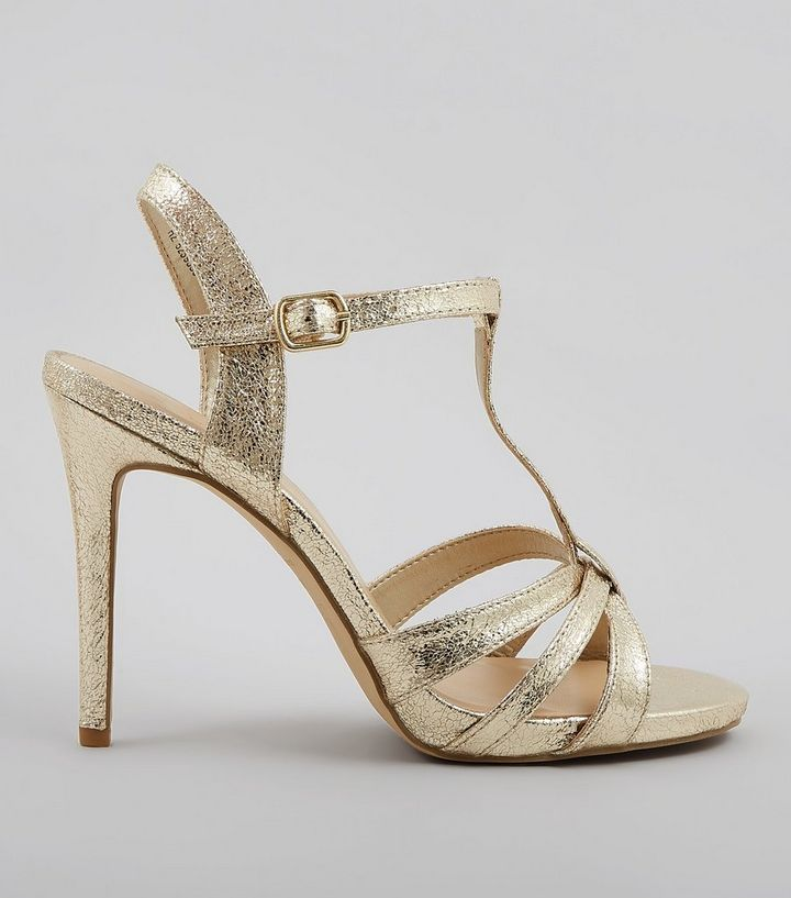 97b47584ebb Wide Fit Gold Multi Strap T Bar Heeled Sandals