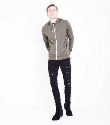 Khaki Zip Front Hoodie New Look