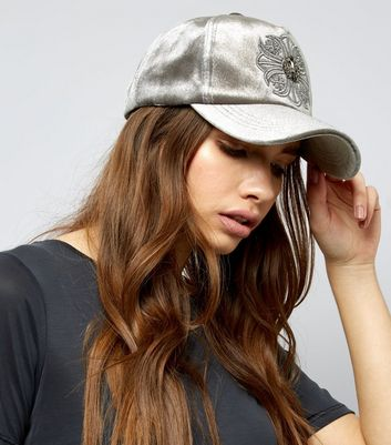 Grey Velvet Embroidered Detail Cap New Look