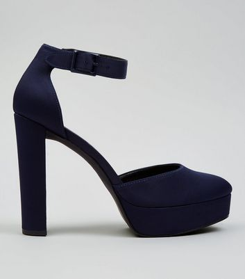 Navy Satin Platform Heels New Look