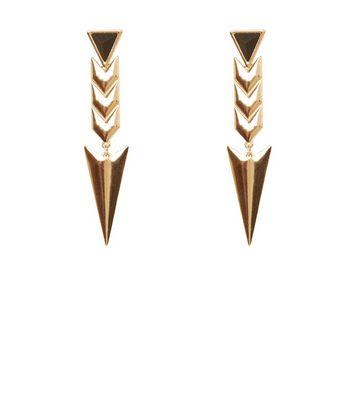 Gold Arrow Drop Stone Earrings New Look