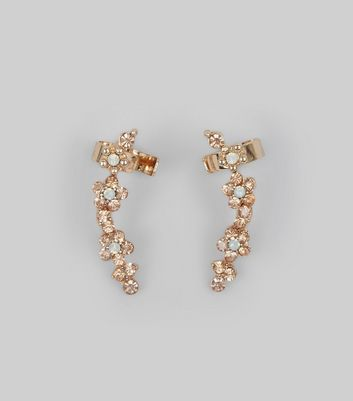 Gold Flower Stone Ear Cuffs New Look