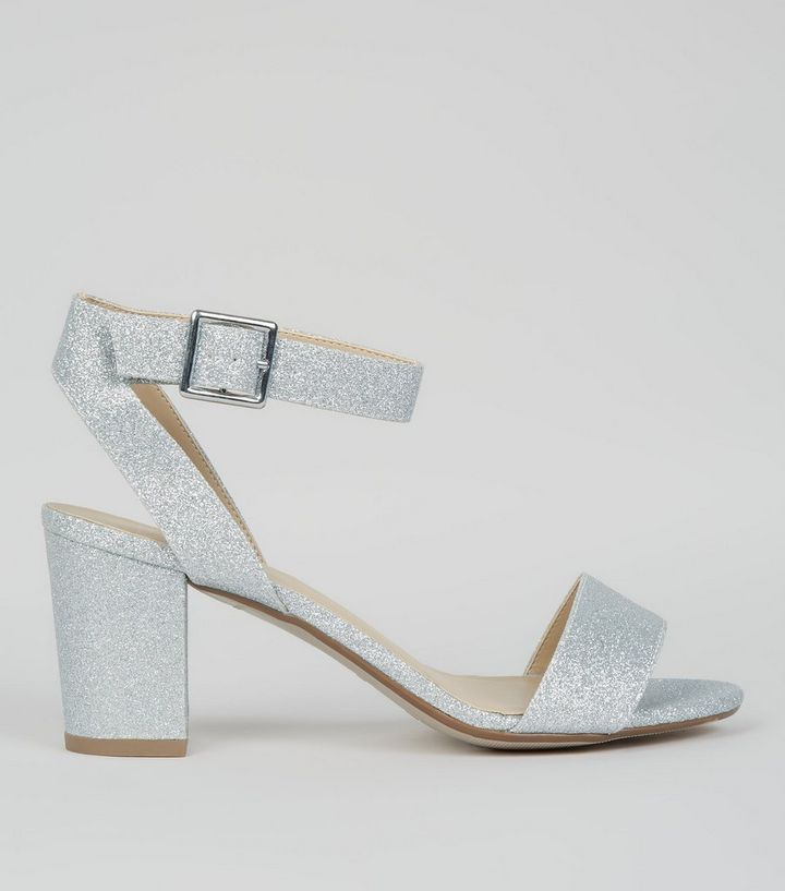 3e61405af1f Teens Silver Glitter Heeled Sandals